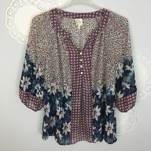 Anthro Fig & Flower Sheer Button Peasant Top Sz 1X